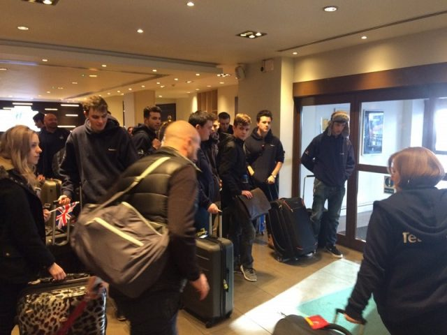 Team UK departing the Holiday Inn hotel