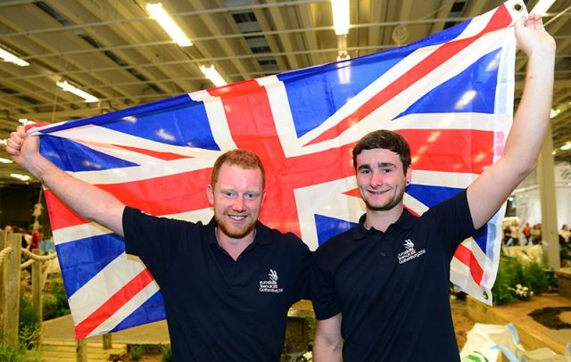 Landscape gardening gold medallists Adam Ferguson (left) and Will Burberry (right)