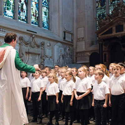 Choir singing at Bath Abbey