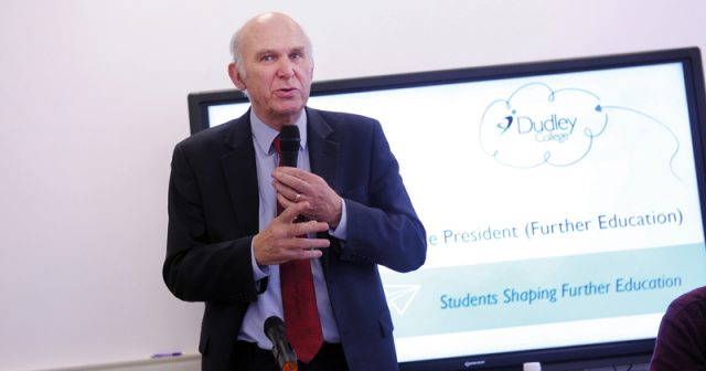 Vince Cable talks education policy with students as part of NUS research programme
