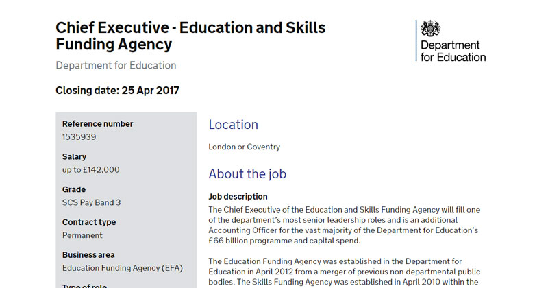 Advertised For New Education And Skills Funding Agency Boss