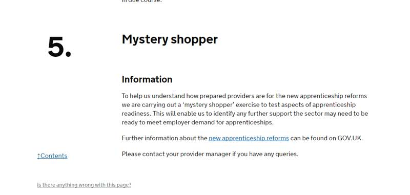 Breaking: SFA unveils 'mystery shopper' scheme to test how ready providers are for apprenticeship reforms