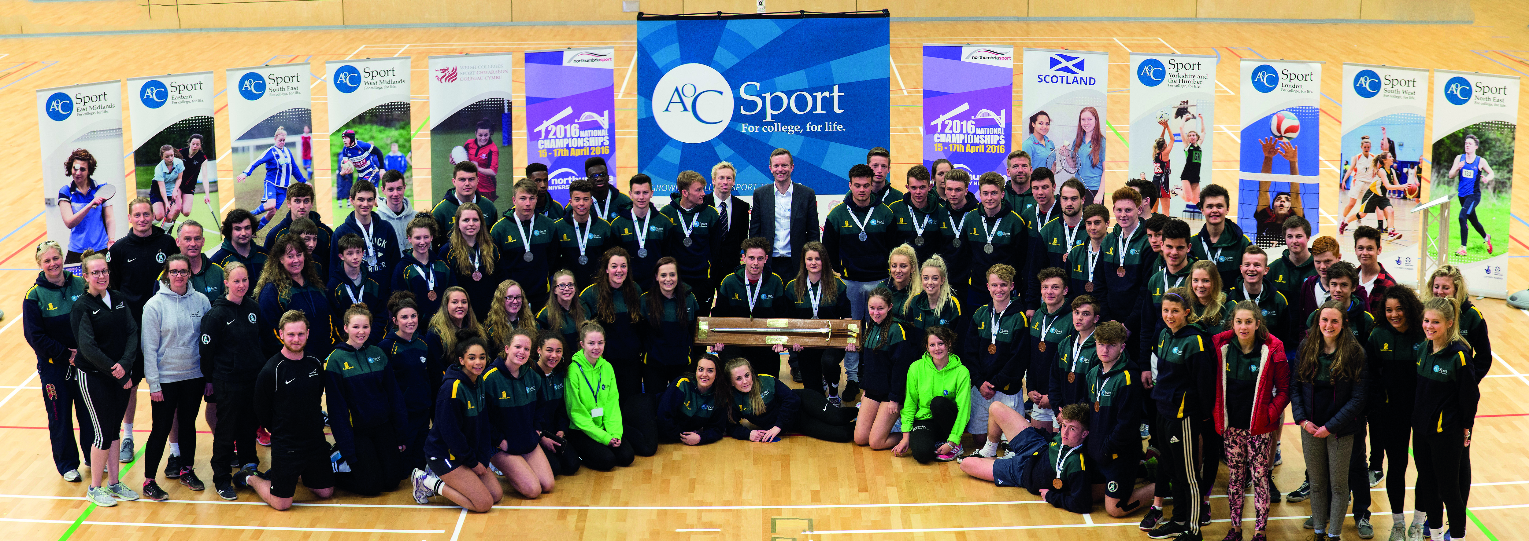 Team South West collecting the Wilkinson Sword at AoC Sport National Championships 2016