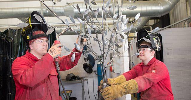 Team of welding students make steel memorial tree for local primary school