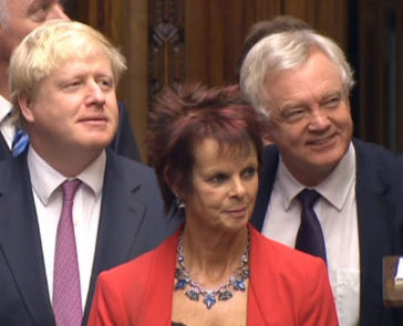 Foreign Secretary Boris Johnson, Anne Milton and Brexit Secretary David Davis listen in during Prime Minister's Questions in the House of Commons