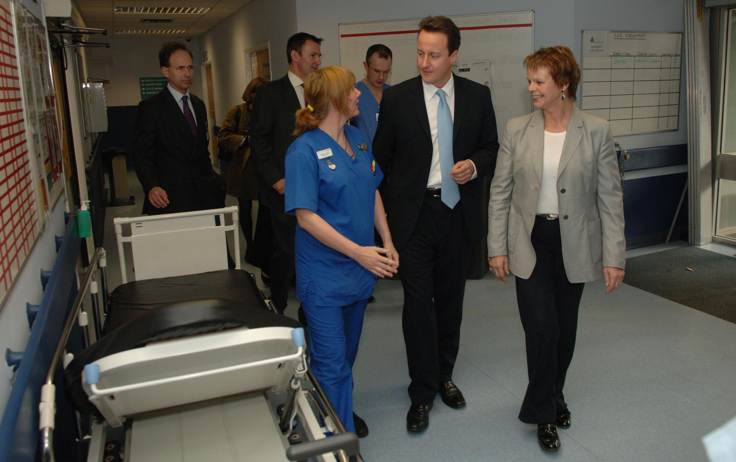 David Cameron and Anne Milton at the Royal Surrey Hospital in Guildford