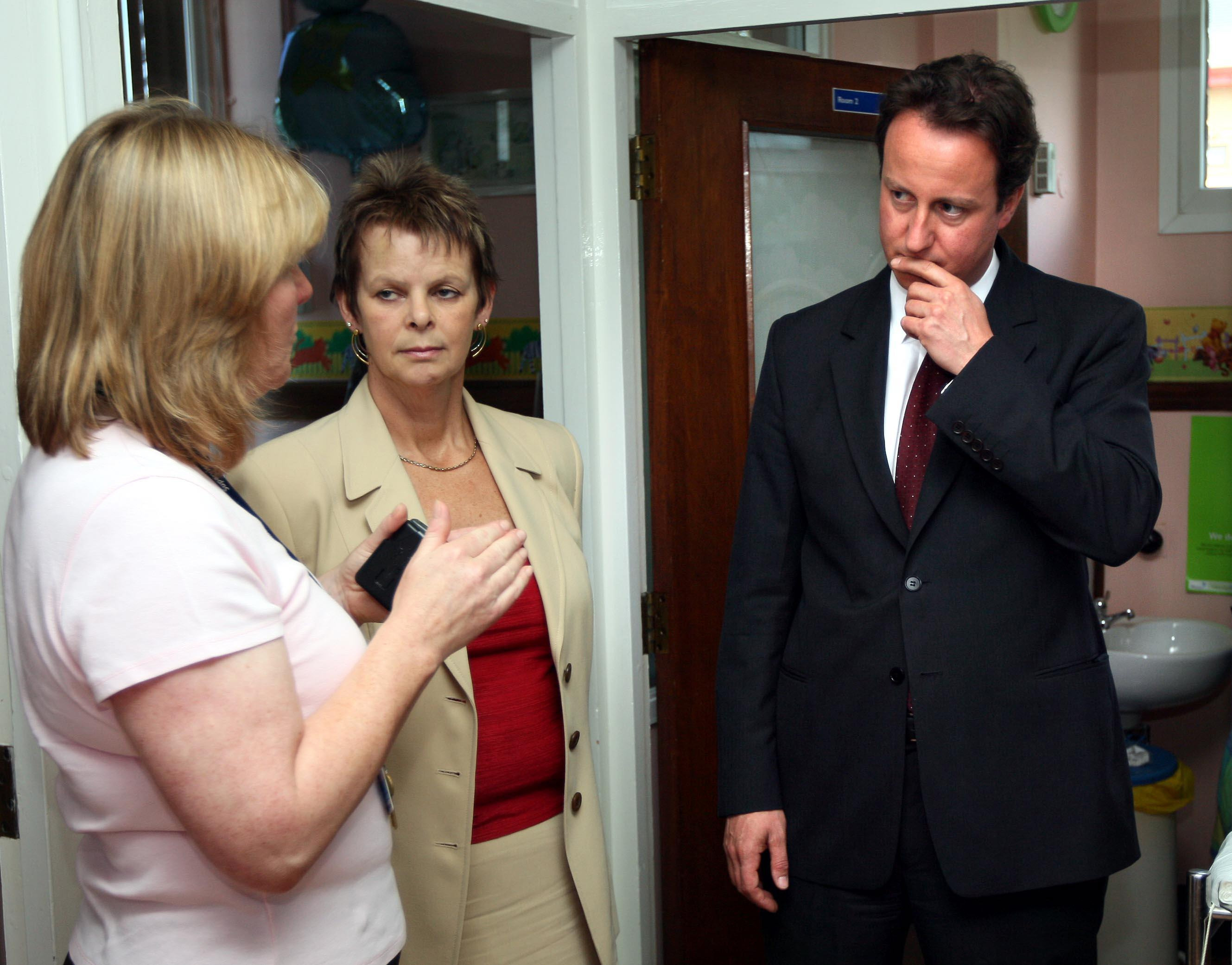 Former PM David Cameron and Anne Milton, as Shadow Health spokesperson, visit the maternity department of the Horton Hospital in Banbury