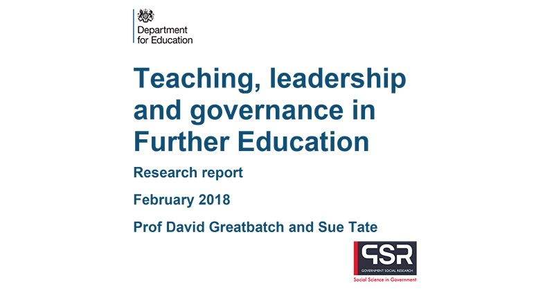 DfE's teaching and leadership in FE report: The five main findings