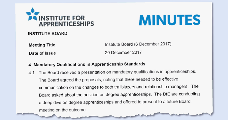 Qualifications WILL be allowed for apprenticeships