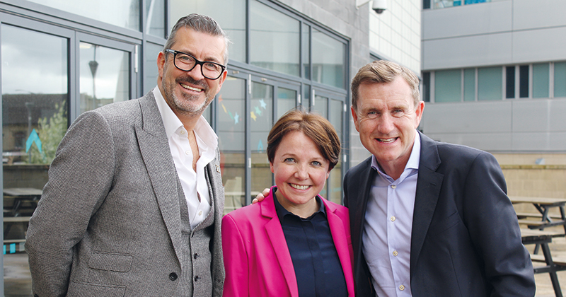 Co-creator of The X Factor and founder of Card Factory return to their former college