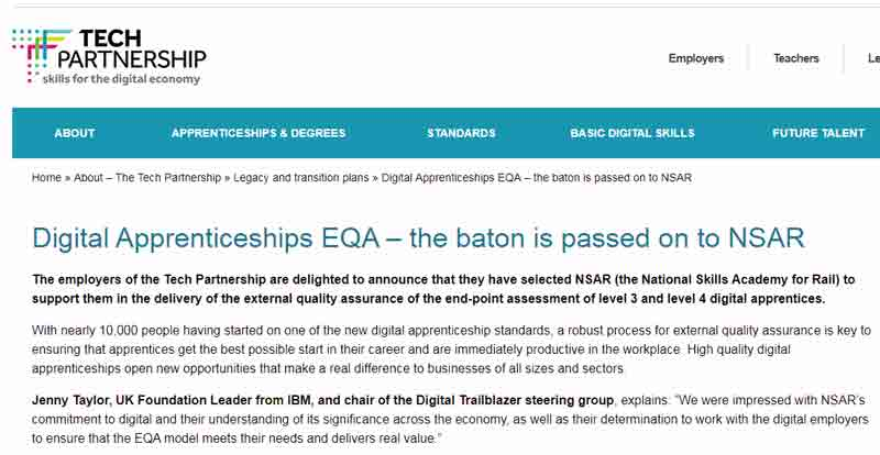 Dismay after rail specialist chosen as quality-assurer for digital apprenticeships