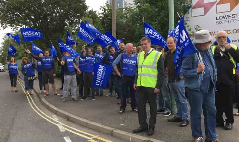 Staff at Lowestoft SFC out on the first of six strike days over merger