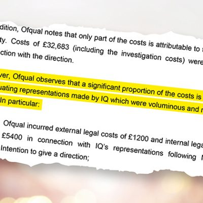 Ofqual fine and legal costs land an awarding organisation with a six-figure bill