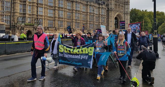 Sixth form staff march across Westminster to protest for fairer college funding
