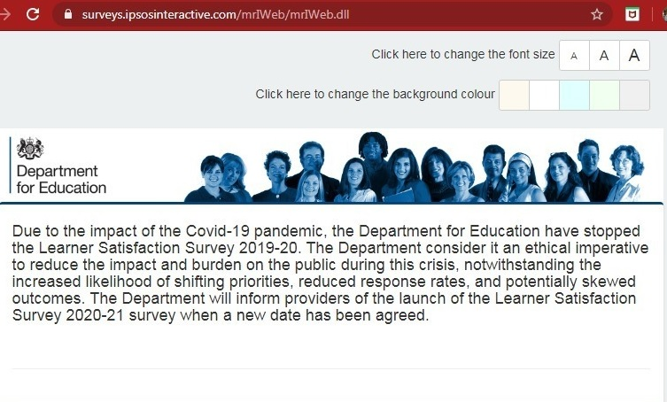 DfE scraps annual FE learner satisfaction survey