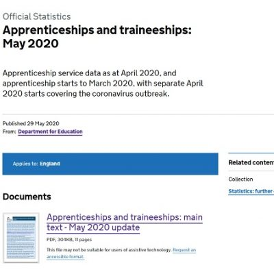Monthly apprenticeships update: March starts fall 24% while April plummets by 72%