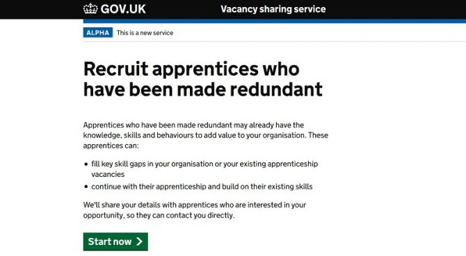 DfE launches new matching and redundancy support service for apprentices