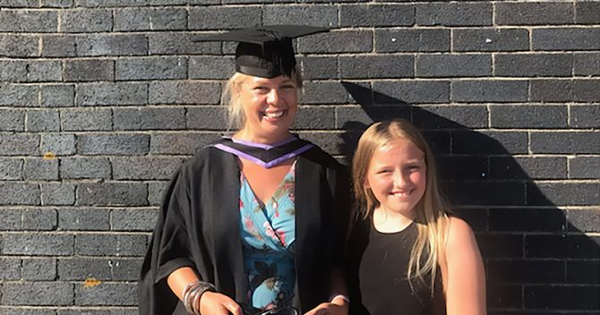 Conroy at her graduation with her daughter